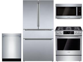 "4 Piece Kitchen package With HDI8054U 30"" Gas Range, HMV8052U Over The Range Microwave, B21CL80SNS 36"" French Door Refrigerator and SHX53T55UC 24"" Built In Dishwasher In Stainless Steel"