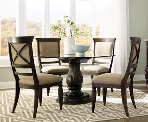 Jessa 4980RDT4SC 5-Piece Dining Room Set with Round Dining Table and 4 Side Chairs in Dark Brown Finish
