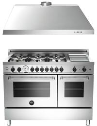 "2-Piece Stainless Steel Kitchen Package with MAS486GGASXTLP 48"" Dual Fuel Range with Liquid Propane and KU48PRO1X14 48"" Wall-Mount Range Hood"