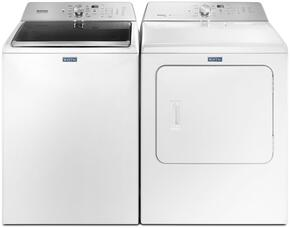 "Maytag White Top Load Laundry Pair with MVWB765FW 28"" Washer with MGDB755DW 29"" Gas Dryer"