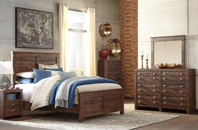 Hammerstead Queen Bedroom Set with Panel Bed, Dresser, Mirror and Nightstand in Brown