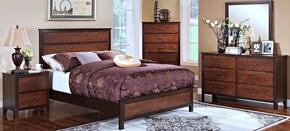 00145WBDMNC Bishop 5 Piece Bedroom Set with California King Bed, Dresser, Mirror, Nightstand and Chest, in Chestnut/Ginger