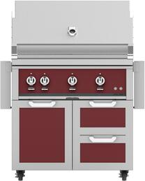 """36"""" Freestanding Liquid Propane Grill with GCR36BG Tower Grill Cart with Double Drawer and Door Combo, in Tin Roof Burgundy"""