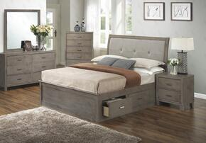 G1205BKSBDMN 4 Piece Set including King Storage Bed, Dresser, Mirror and Nightstand  in Gray