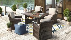 Salceda Collection P451-6254C 5-Piece Patio Set with Rectangular Multi-Use Table and 4 Lounge Chairs in Beige and Brown