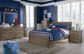 Javarin Full Bedroom Set with Panel Bed, Dresser, Mirror, Nightstand and Chest in Greyish Brown