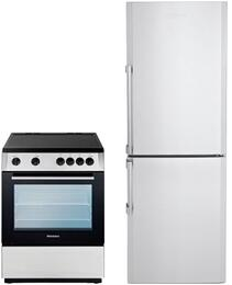 "2 Piece Kitchen Package With BERU24200SS 24"" Electric Freestanding Range and BRFB1042SSN 24"" Bottom Freezer Refrigerator In Stainless Steel"