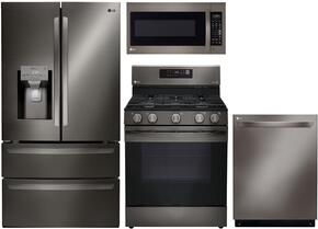 "4-Piece Kitchen Package with LMXS28626D 36"" French Door Refrigerator, LRG3061BD 30"" Freestanding Gas Range, LMV2031BD 30"" Over the Range Microwave, and LDP6797BD  24"" Built In Fully Integrated Dishwasher in Black Stainless Steel"
