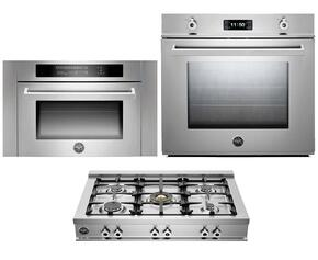 "Professional Series F30PROXT 30"" Single Electric Wall Oven 3-Piece Stainless Steel Kitchen Package with CB36500X 36"" Gas Rangetop and SO24PROX Built-In Microwave"