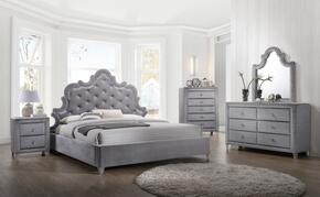 Sophie Collection SOPHIEQPBDMNC 5-Piece Bedroom Set with Queen Panel Bed, Dresser, Mirror, Single Nightstand and Chest in Grey
