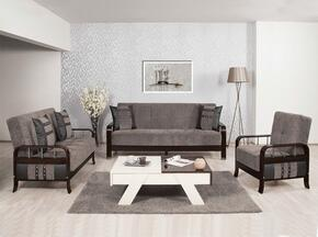 Studio NYC SNSBLSACFGY  Package Containing Sofa Bed, Convertible Love Seat and Convertible Armchair with Wooden Frame, Stainless Steel Accents and Tufted Detailing in Flocket Gray
