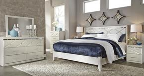 Strickland Collection Queen Bedroom Set with Panel Bed, Dresser, Mirror, Chest and 2 Nightstands in Champagne