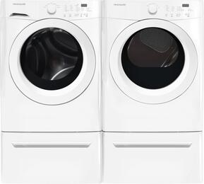 "White Front Load Laundry Pair with FFFW5000QW 27"" Washer, FFQE5000QW 27"" Electric Dryer and 2 CFPWD15W Pedestals"