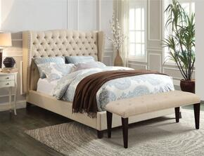 Faye Collection 20647EKB King Size Bed with Wingback Headboard, Nail Head Trim, Espresso Tapered Legs, Button Tufted Headboard and Linen Upholstery in Beige Color