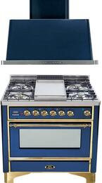 "2-Piece Midnight Blue Kitchen Package with UM90FDVGGBL 36"" Freestanding Gas Range (Brass Trim, 4 Burners, Griddle) and UAM90BL 36"" Wall Mount Range Hood"