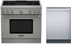 "2 Piece Stainless Steel Kitchen Package With PRG364GDH 36"" Gas Freestanding Range and DWHD440MFM 24"" Dishwasher For Free"