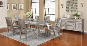 Danette 106471SCS 8 PC Dining Room Set Including Dining Table, 4 Side Chairs, 2 Armchairs and Server with Turned Legs and Molding Detail in Metallic Platinum Color