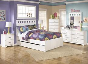 Lulu Full Bedroom Set with Panel Bed with Trundle, Dresser, Mirror, Single Nightstand and Chest in White