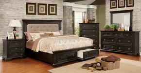 Roisin Collection CM7578CKBEDSET 5 PC Bedroom Set with California King Size Platform Bed + Dresser + Mirror + Chest + Nightstand in Wire-Brushed Black Finish