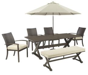 Harmony Collection OD-568-T4CBU 7-Piece Outdoor Patio Set with Dining Table, 4 Side Chairs, Bench and Umbrella with Stand in Beige and Brown