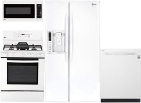 "4-Piece Kitchen Package with LSXS26326W 36"" Side by Side Refrigerator , LRE3193SW 30"" Freestanding Gas Range, LMVM2033SW 30"" Over the Range Microwave, and LDT5665WW 24"" Built In Fully Integrated Dishwasher in White"
