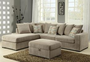 Olson 500044SO 2 PC Living Room Set with Reversible Sectional Sofa + Ottoman in Taupe Color