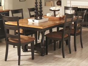 1046114CH Charlotte Rectangular Dining Table with Four Chairs, Block Legs, Bun Feet, Wood Veneers and Solids Oak and Black Finish