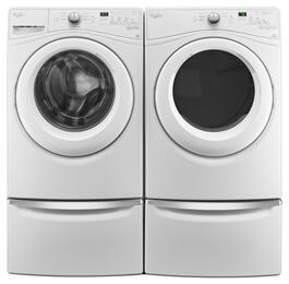 "White Front Load Laundry Pair with WFW7590FW 27"" Washer, WGD7590FW 27"" Gas Dryer and 2 XHPC155XW Pedestals"