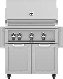 "36"" Freestanding Liquid Propane Grill with GCD36 Tower Grill Cart with Double Doors, in Steeletto Stainless Steel"