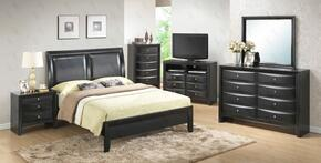 G1500AQBNTV 3 Piece Set including Queen Size Bed, Nightstand and Media Chest  in Black