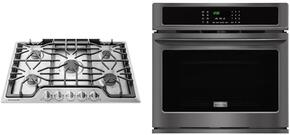 "Gallery 2-Piece Black Stainless Steel Kitchen Package wtih FGEW3065PD 30"" Single Wall Oven and FGGC3047QS 30"" Gas Cooktop"