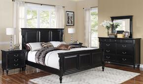 00222WBDMNN Martinique 5 Piece Bedroom Set with California King Bed, Dresser, Mirror and Two Nightstands, in Rubbed Black