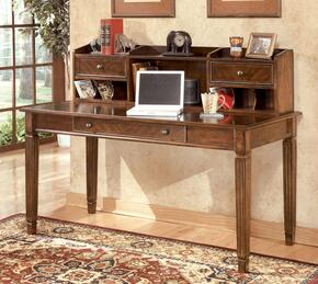 Hamlyn H5274448SET Home Office Desk Set with Large Leg Desk and Short Hutch in Medium Brown Finish