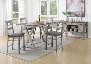 Edmonton 106328 Dining Room Set Including Counter Height Table with Stretchers and 4 Fabric Upholstered Counter Height Chair  in Gray