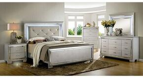 Bellanova Collection CM7979SVCKBDMCN 5-Piece Bedroom Set with California King Bed, Dresser, Mirror, Chest and Nightstand in Silver Finish