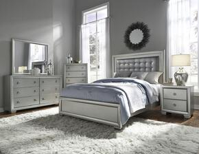 Celestial 89602505100BDMCN 5 PC Bedroom Set with Queen Size Bed + Dresser + Mirror + Chest + Nightstand in Silver Color