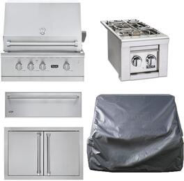 "5-Piece Stainless Steel Outdoor Kitchen Package with VGBQ53024NSS 30"" Natural Gas Grill, VQGSB5130NSS 24"" Side Burner, AD52820SS 32"" Double Access Door, SD5300 30"" Storage Drawer, and Grill Cover"