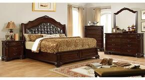Edinburgh Collection CM7671QBDMCN 5-Piece Bedroom Set with Queen Bed, Dresser, Mirror, Chest and Nightstand in Brown Cherry Finish