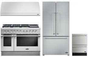 "4 Piece Kitchen Package With RGV2486GDL 48"" Gas Freestanding Range, VS48 48"" Wall Mount Hood, RF201ACJSX1 36"" French Door Refrigerator and DD24DV2T7 24"" Dishwasher in Stainless Steel"