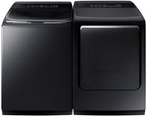 "Black Stainless Steel Laundry Pair with WA52M8650AV 27"" Washer (5.3 cu. ft. Capacity) and DVG52M8650V 27"" Gas Dryer (7.4 cu. ft. Capacity)"