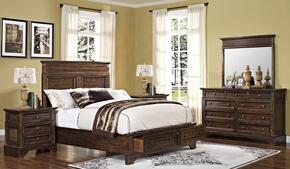 00186WBDMNN Grandview 5 Piece Bedroom Set with Storage California King Bed, Mirror and Two Nightstands, in Brown
