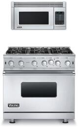 """2-Piece Stainless Steel Kitchen Package with VGIC53616BSS 36"""" Freestanding Gas Range, and VMOS201SS 24"""" Countertop Microwave with VMTK272SS 27"""" Built-In Trim Kit"""