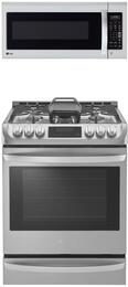 "2-Piece Stainless Steel Kitchen Package with LSG4513ST 30"" Slide-In Gas Range and LMV2031ST 30"" Over the Range Microwave"