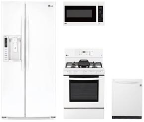 "4-Piece Kitchen Package with LSXS26326W 36"" Side by Side Refrigerator , LRE3193SW 30"" Freestanding Gas Range, LMV2031SW 30"" Over the Range Microwave, and LDT5665WW 24"" Built In Fully Integrated Dishwasher in White"