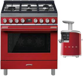 "2-Piece Red Kitchen Package with CPF36UGMR 36"" Freestanding Gas Range and SJF01RDUS 7"" Slow Juicer"