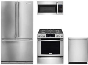 "4-Piece Kitchen Package with KF1803SF 30"" Bottom Freezer Refrigerator, EI30GF45QS 30"" Gas Freestanding Range, G4975VISF 24"" Built In Dishwasher and  DAR1220 30"" Wall Mount Canopy Range Hood Stainless Steel"