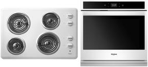 "2-Piece Kitchen Package with WCC31430AW 30"" Electric Cooktop and WOS51EC7AW 27"" Electric Single Wall Oven in White"