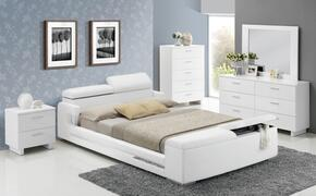 Layla 20680Q5PC Bedroom Set with Queen Size Bed + Dresser + Mirror + Chest + Nightstand in White Color
