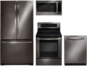 "4-Piece Black Stainless Steel Kitchen Package with LFC21776D 36"" French Door Refrigerator, LRE3061BD 30"" Electric Freestanding Range, LDF8874ST 24"" Fully Integrated Dishwasher and LMHM2237BD 30"" Over the Range Microwave"
