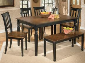 D580250200 Owingsville Rectangular Dining Room Table with Four Chairs, Bench, Glued and Screwed Corner Block Construction in Two Tone